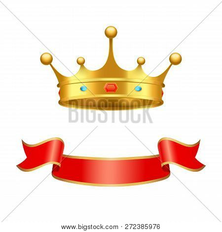 Crown Majestic Headdress And Ribbon Vector Decorative Element. Golden Tiara With Precious Stones Inl