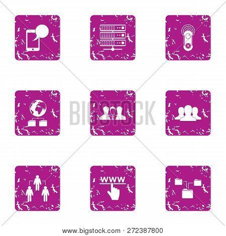 Interactive Guard Icons Set. Grunge Set Of 9 Interactive Guard Icons For Web Isolated On White Backg