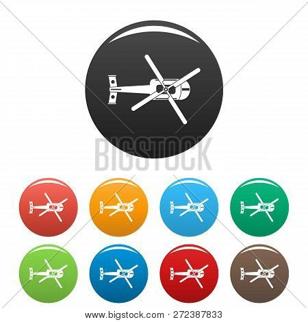 Top View Helicopter Icons Set 9 Color Isolated On White For Any Design