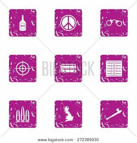 Peaceful Solution Icons Set. Grunge Set Of 9 Peaceful Solution Icons For Web Isolated On White Backg