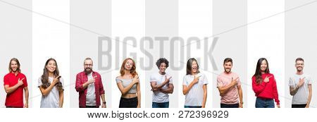 Collage of different ethnics young people over white stripes isolated background cheerful with a smile of face pointing with hand and finger up to the side with happy and natural expression on face