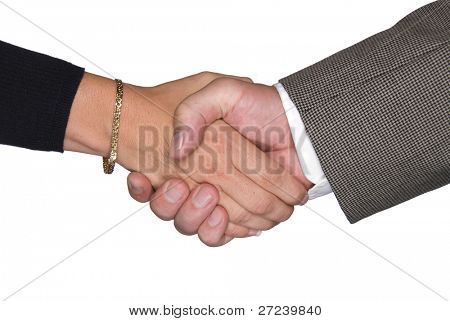 Male and female partners shaking hands after a negotiating a contract agreement