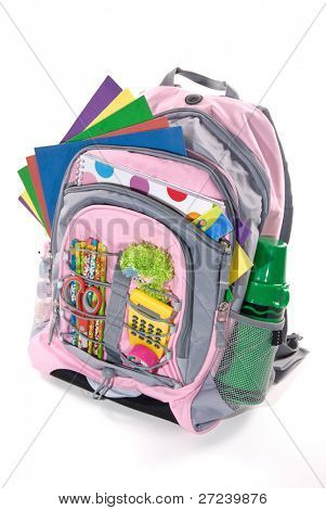 Book bag full of a students study materials for going back to school