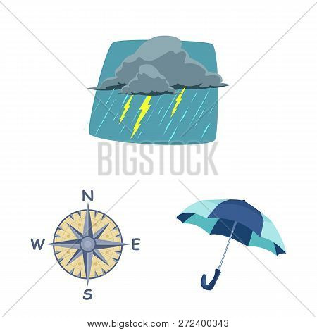 Vector Design Of Weather And Climate Sign. Set Of Weather And Cloud Vector Icon For Stock.