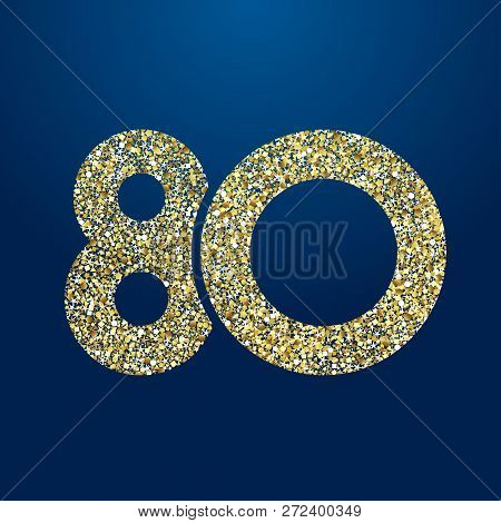 80 Th Years Old Logotype. Isolated Golden Color Abstract Dot Graphic Symbol Of 80%. Shiny Straight E