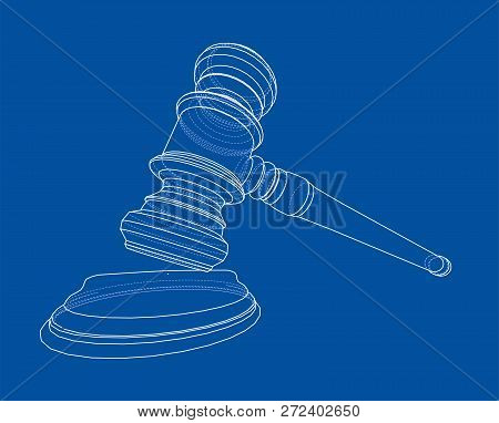 3d Outline Gavel. Vector Rendering Of 3d. Wire-frame Style. The Layers Of Visible And Invisible Line