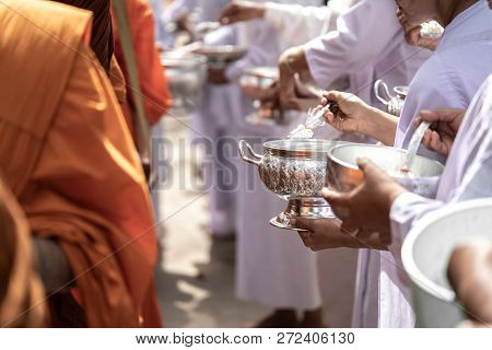 The Monks Of The Buddhist Sangha(give Alms To A Buddhist Monk), Which Came Out Of The Buddhist Offer