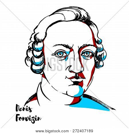 Denis Fonvizin Engraved Vector Portrait With Ink Contours. Playwright Of The Russian Enlightenment,