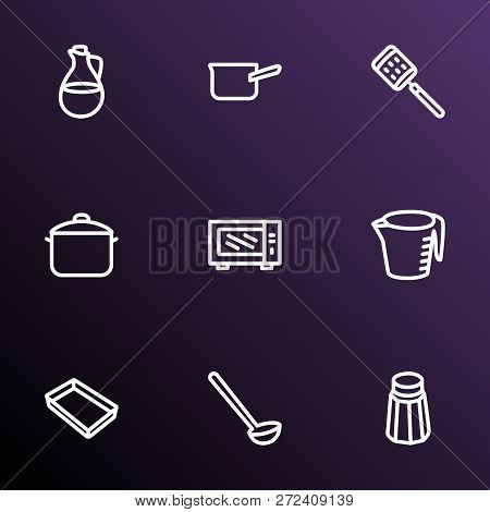 Instrument Icons Line Style Set With Casserole, Microwave, Measuring Cup And Other Cake Tray Element