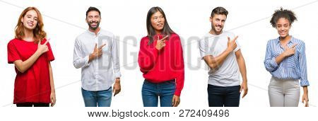 Collage of group chinese, indian, hispanic people over isolated background cheerful with a smile of face pointing with hand and finger up to the side with happy and natural expression on face