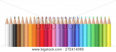 Realistic Colorful Pencil Set. Variety Of Colors Vector Set Of Colored Pencils.