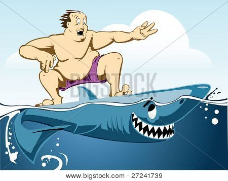 Obese man is startled to realize that his surfboard is actually a shark