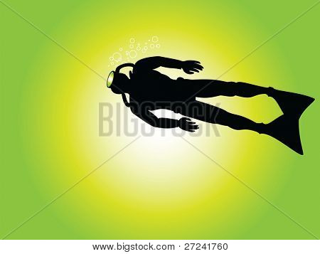 Scuba diver viewed from below