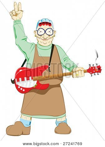 Old lady playing rock and roll guitar