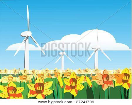 Wind turbines in a field of daffodils