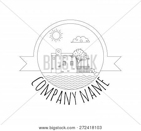 Aegean Beach House Concept Logo. Template With Beach House Landscape. Black Logotype Isolated On Whi