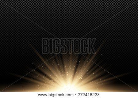 Golden Stylish Light Effect On A Dark Transparent Background. Golden Rays. Bright Explosion. Flying