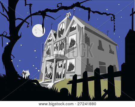 Haunted house at night with full moon