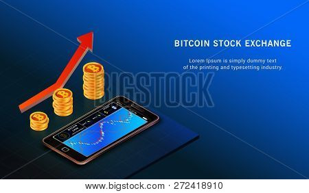 Bitcoin Up Growth Concept. Bitcoin Revenue Illustration. Forex Trading Chart Online. Exchange Mobile
