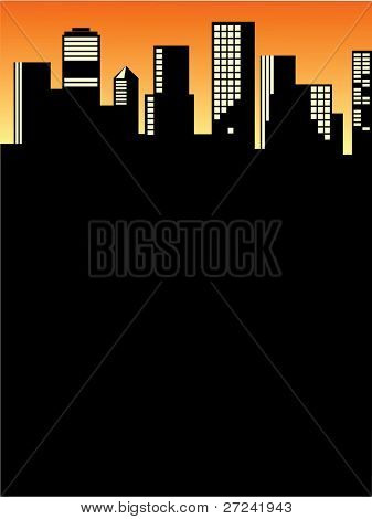 1980s style cityscape at sunset