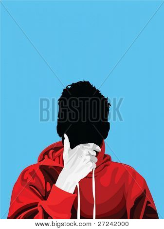 young man wearing hooded sweat-shirt in a thinking pose