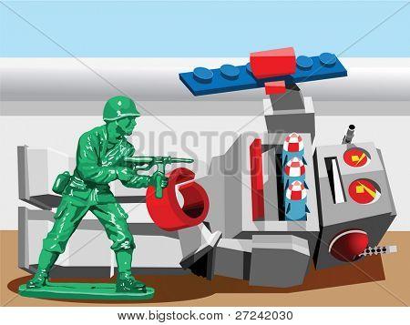 little toy soldier wins battle against evil robot