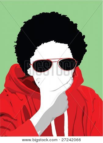 Young cool kid with retro sunglasses and afro.