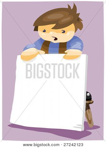 small boy standing on a stool holds large sign, blank for your message.