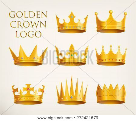 Set Of Isolated Monarch Crowns Icons Or Golden 3d King, Queen Headdress Logo, Prince Or Princess Rea