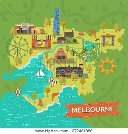 Map Of Melbourne With Shrine Of Remembrance, Captain Cooks Cottage, Eureka Tower, Royal Zoo Gardens,