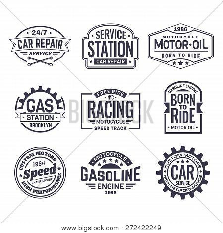 Set Of Isolated Logo For Car Repair Service Station And Motor Oil Maintenance Labels, Retro Racing C