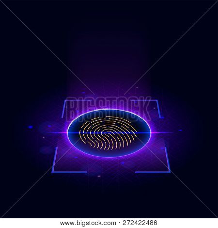 Fingerprint Scanning Identification System. Biometric Authorization And Business Security Concept. S