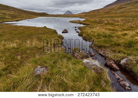 The Cuillin Landscape On The Isle Of Skye In Scotland With Lake And Mountains