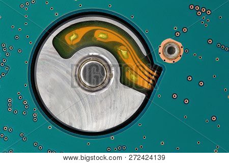 Close Up Of Circuit Board From A Hard Drive