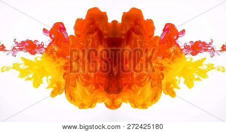 Abstract Mirrored Movement Of Acrylic Paints In Water. Turbulent Flow Ink Isolated On White Backgrou