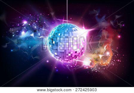 Disco Ball. Disco Ball On Open Space Background
