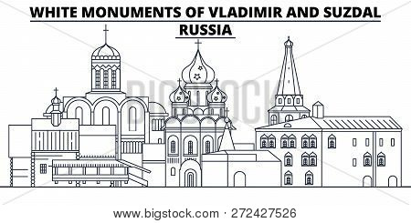 Russia - White Monuments Of Vladimir And Suzdal Travel Famous Landmark Skyline, Panorama, Vector. Ru