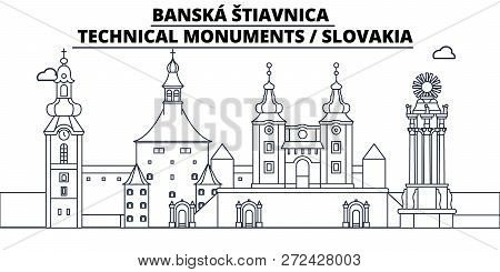 Slovakia - Banska Stiavnica Travel Famous Landmark Skyline, Panorama, Vector. Slovakia - Banska Stia