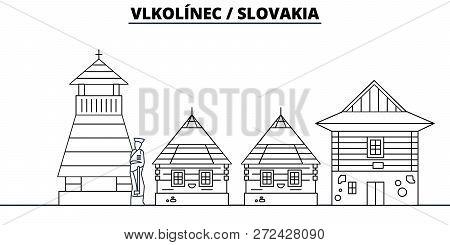 Slovakia - Vlkolinec Travel Famous Landmark Skyline, Panorama, Vector. Slovakia - Vlkolinec Linear I