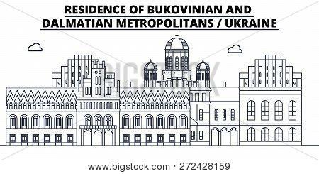 Ukraine - Bukovinian And Dalmatian Metropolitans Travel Famous Landmark Skyline, Panorama, Vector. U
