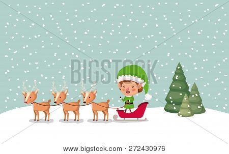 Santa Helper With Carriage And Reindeer Snowscape Vector Illustration