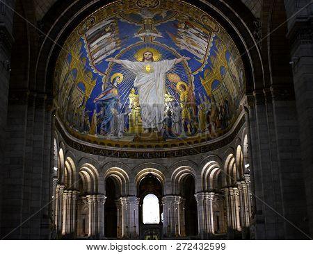 Paris, France, Montmartre. August 2018. Basilique du Sacre Coeur, Interior.