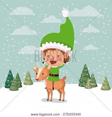 Cute Santa Helper With Reindeer In Snowscape Vector Illustration Design