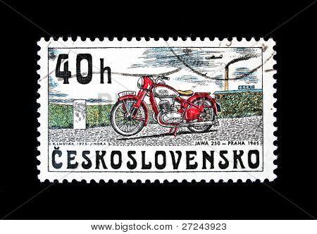 CZECHOSLOVAKIA - CIRCA 1975: A stamp printed in Czechoslovakia shows vintage Motorcycle JAWA 250 year 1945, circa 1975.