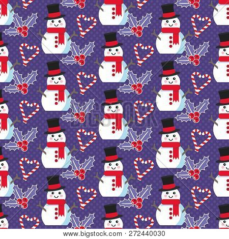 Cute Christmas Pattern With Snowman, Candy Canes And Mistletoe
