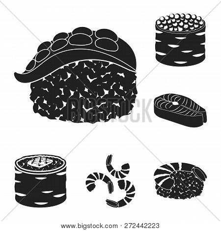 Vector Illustration Of Sushi And Fish Sign. Set Of Sushi And Cuisine Stock Symbol For Web.