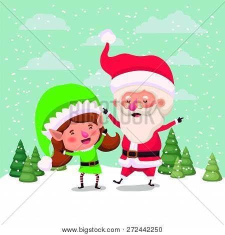 Santa Claus And Girl Helper In The Snowscape Vector Illustration Design