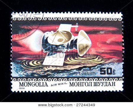 MONGOLIA - CIRCA 1979:  A stamp printed in Mongolia shows spaceship Mars-3, circa 1979 Series