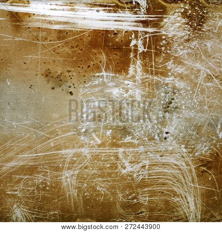 Brown Grunge Textured Background With Scratches And Grain