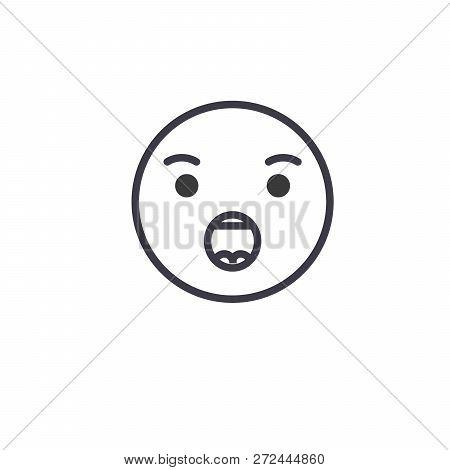 Anguished Emoji Concept Line Editable Vector Concept Icon. Anguished Emoji Concept Linear Emotion Il